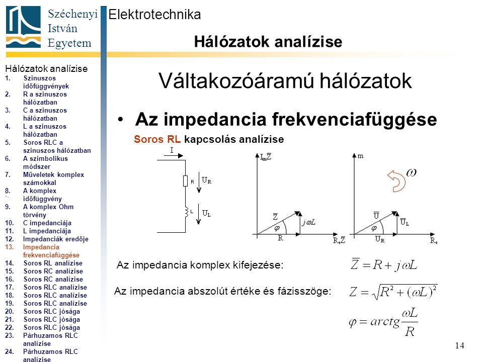 Széchenyi István Egyetem 14 Váltakozóáramú hálózatok •Az impedancia frekvenciafüggése Elektrotechnika Hálózatok analízise...,...