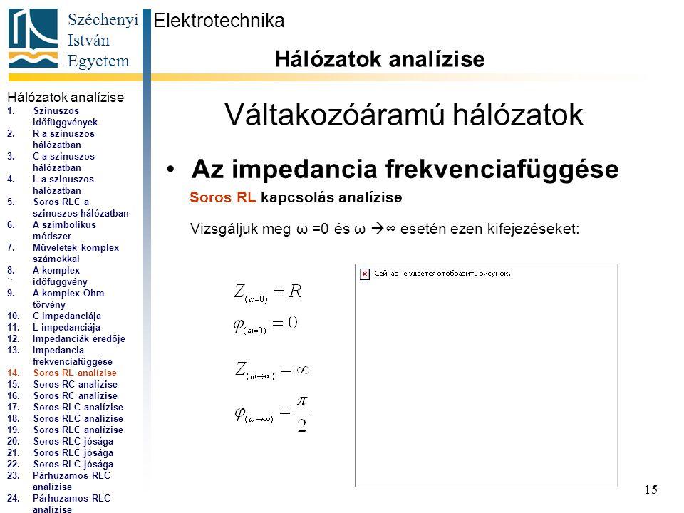 Széchenyi István Egyetem 15 Váltakozóáramú hálózatok •Az impedancia frekvenciafüggése Elektrotechnika Hálózatok analízise...,...