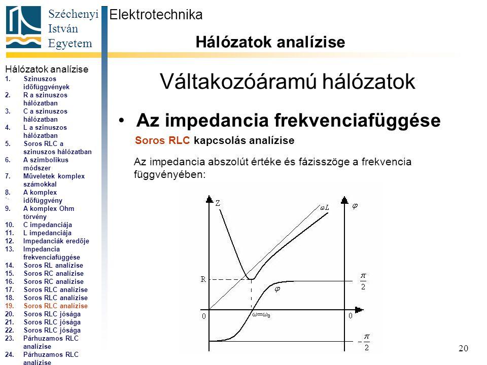 Széchenyi István Egyetem 20 Váltakozóáramú hálózatok •Az impedancia frekvenciafüggése Elektrotechnika Hálózatok analízise...,...