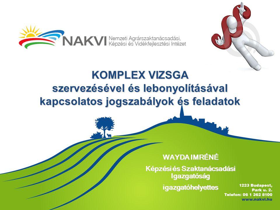 KOMPLEX VIZSGA szervezésével és lebonyolításával kapcsolatos jogszabályok és feladatok WAYDA IMRÉNÉ Képzési és Szaktanácsadási Igazgatóság igazgatóhel