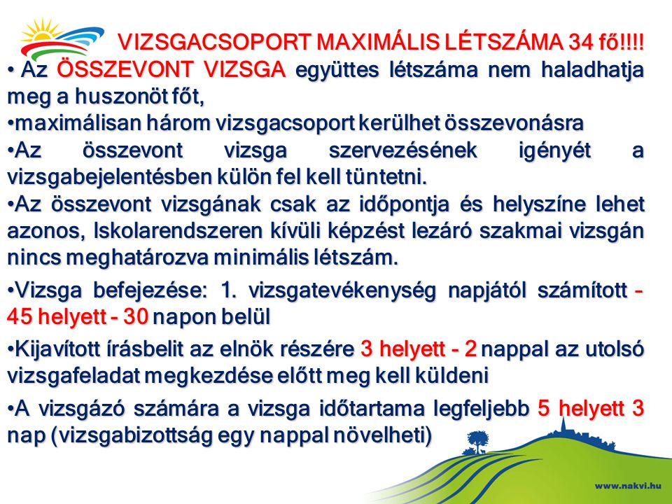 VIZSGACSOPORT MAXIMÁLIS LÉTSZÁMA 34 fő!!!! • Az ÖSSZEVONT VIZSGA együttes létszáma nem haladhatja meg a huszonöt főt, • maximálisan három vizsgacsopor