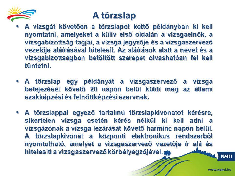 A törzslap  A vizsgát követően a törzslapot kettő példányban ki kell nyomtatni, amelyeket a külív első oldalán a vizsgaelnök, a vizsgabizottság tagja