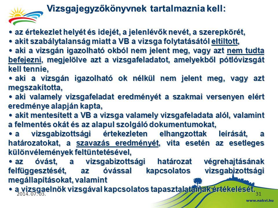2014. 07. 03.31 Vizsgajegyzőkönyvnek tartalmaznia kell: • az értekezlet helyét és idejét, a jelenlévők nevét, a szerepkörét, • akit szabálytalanság mi