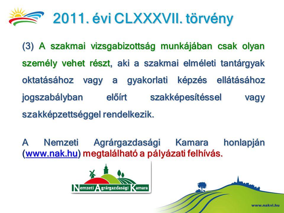 2011. évi CLXXXVII. törvény (3) A szakmai vizsgabizottság munkájában csak olyan személy vehet részt, aki a szakmai elméleti tantárgyak oktatásához vag