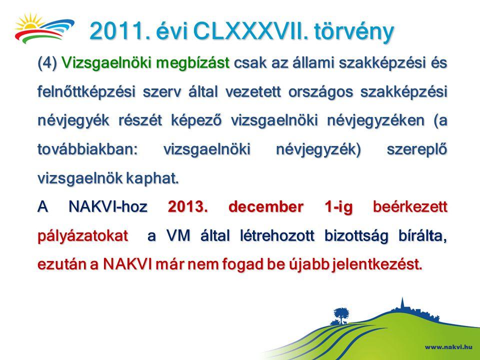 2011. évi CLXXXVII. törvény (4) Vizsgaelnöki megbízást csak az állami szakképzési és felnőttképzési szerv által vezetett országos szakképzési névjegyé
