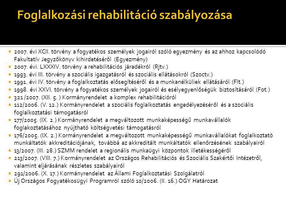  2007. évi XCII. törvény a fogyatékos személyek jogairól szóló egyezmény és az ahhoz kapcsolódó Fakultatív Jegyzőkönyv kihirdetéséről (Egyezmény)  2