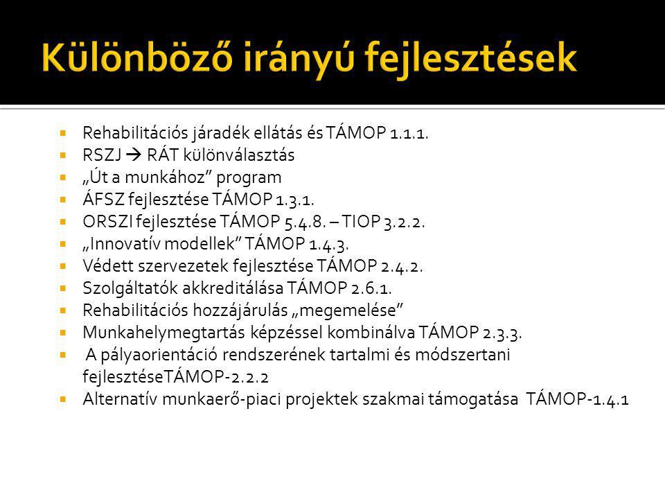 """ Rehabilitációs járadék ellátás és TÁMOP 1.1.1.  RSZJ  RÁT különválasztás  """"Út a munkához"""" program  ÁFSZ fejlesztése TÁMOP 1.3.1.  ORSZI fejlesz"""