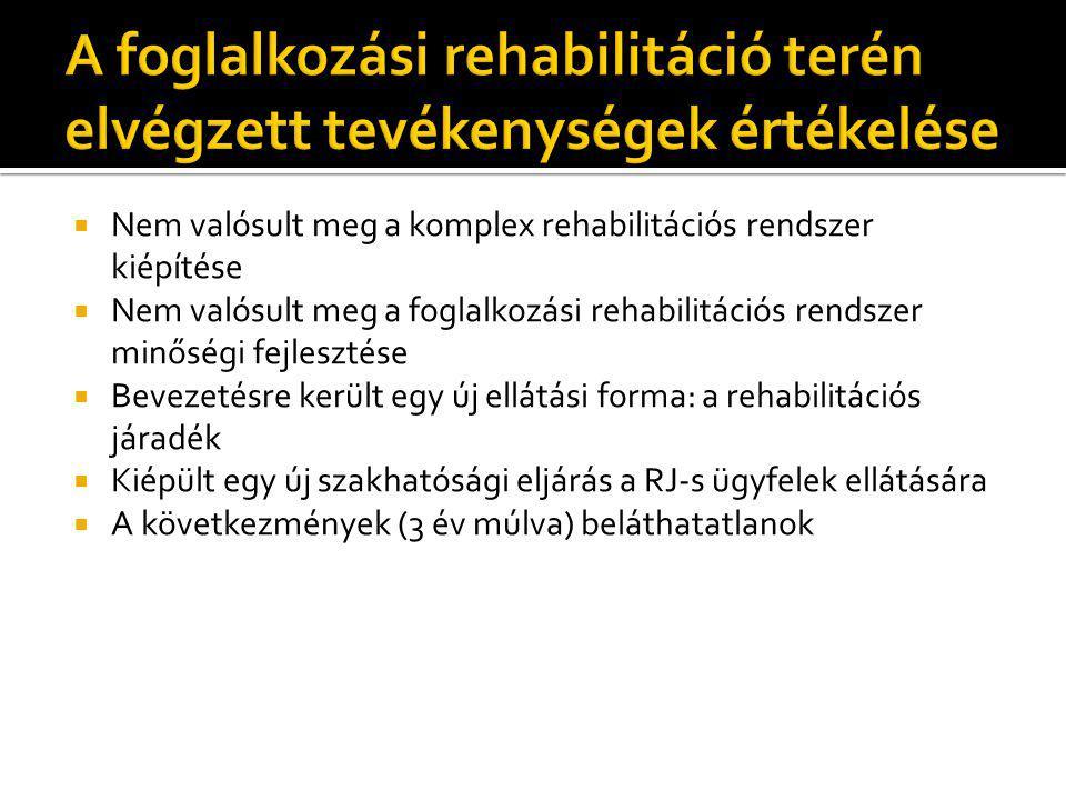  Nem valósult meg a komplex rehabilitációs rendszer kiépítése  Nem valósult meg a foglalkozási rehabilitációs rendszer minőségi fejlesztése  Beveze