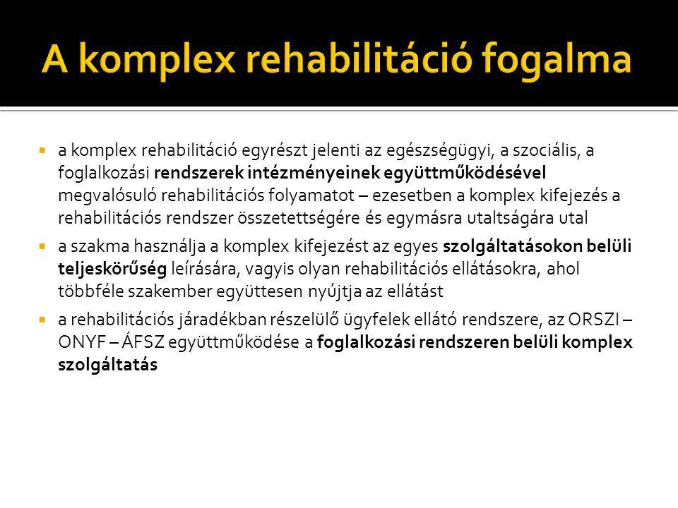  a komplex rehabilitáció egyrészt jelenti az egészségügyi, a szociális, a foglalkozási rendszerek intézményeinek együttműködésével megvalósuló rehabi