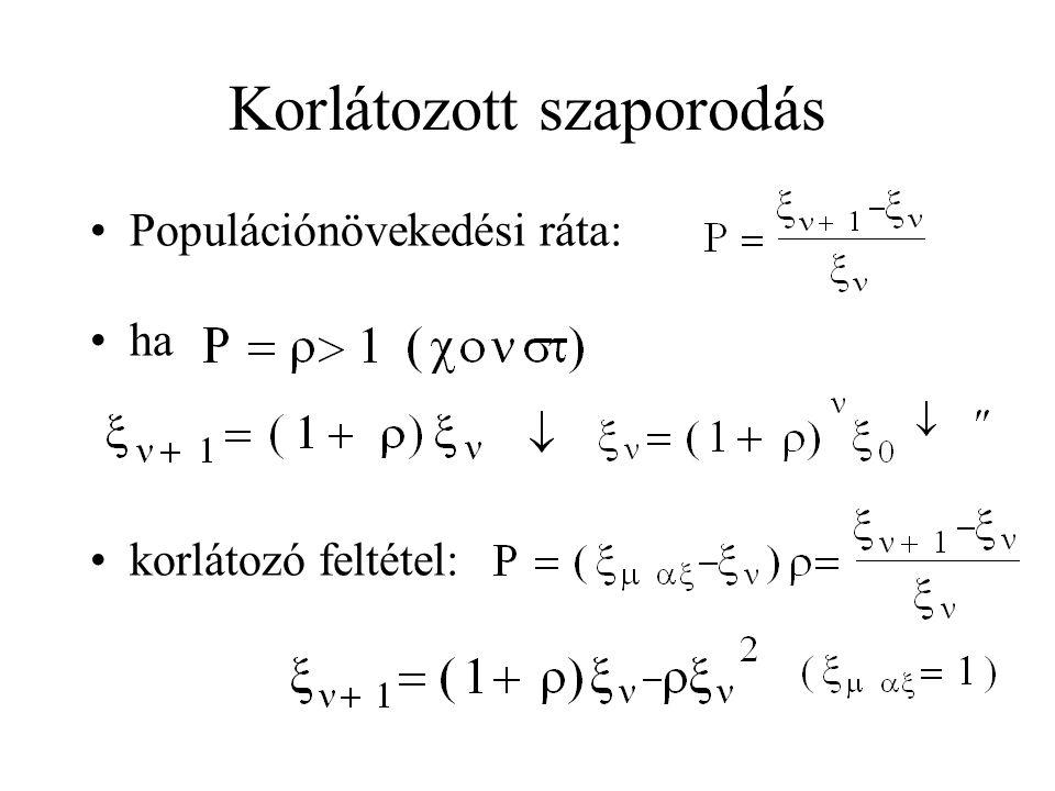 Korlátozott szaporodás •Populációnövekedési ráta: •ha •korlátozó feltétel:
