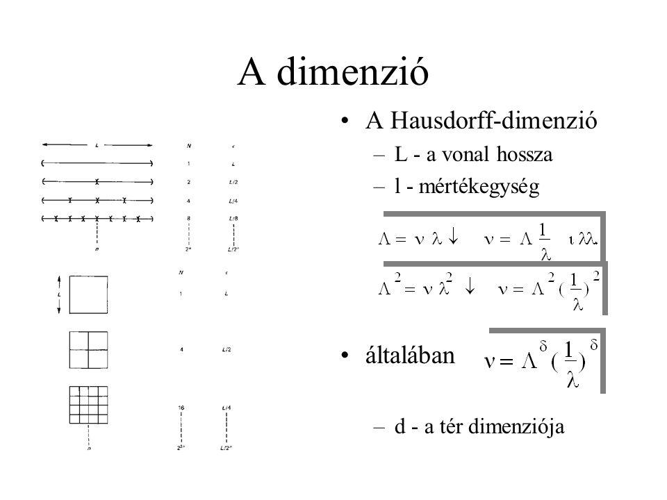 A dimenzió •A Hausdorff-dimenzió –L - a vonal hossza –l - mértékegység •általában –d - a tér dimenziója
