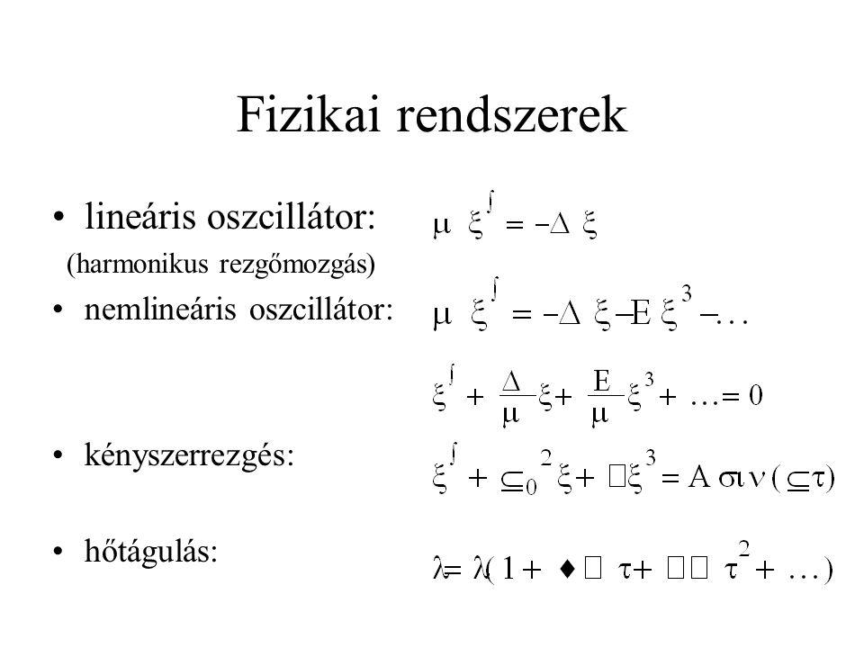 Definíciók (1) •trajektória - a rendszer pályája a fázistérben •attraktor - a fázistér azon alakzata, amely felé a rendszer állapota a vonzástartományba eső kezdőfeltételektől függően konvergál –fixpont: az attraktor egyetlen pontból áll –határciklus: az attraktor zárt görbe, a rendszer periódikusan oszcillál a fázistérben –különös attraktor: végtelen számú egymás melletti rétegbôl álló, nem egész dimenziójú (fraktál természetû) attraktor, a közeli pályák exponenciálisan válnak szét.