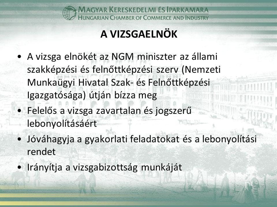 A VIZSGAELNÖK •A vizsga elnökét az NGM miniszter az állami szakképzési és felnőttképzési szerv (Nemzeti Munkaügyi Hivatal Szak- és Felnőttképzési Igaz
