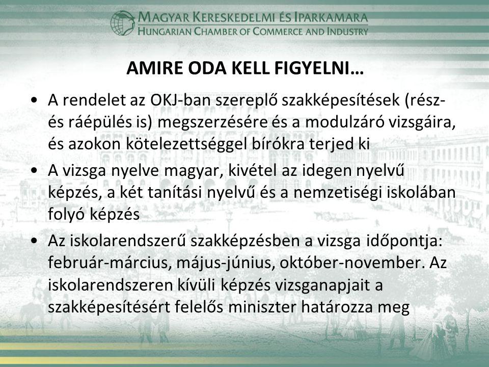 AMIRE ODA KELL FIGYELNI… •A rendelet az OKJ-ban szereplő szakképesítések (rész- és ráépülés is) megszerzésére és a modulzáró vizsgáira, és azokon köte