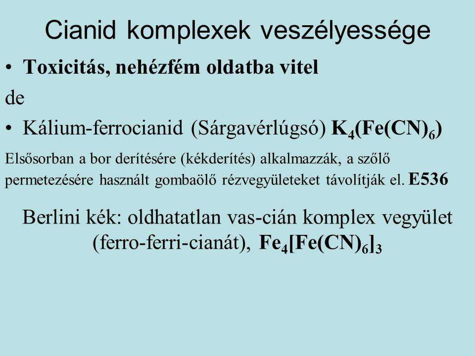 Cianid komplexek veszélyessége •Toxicitás, nehézfém oldatba vitel de •Kálium-ferrocianid (Sárgavérlúgsó) K 4 (Fe(CN) 6 ) Elsősorban a bor derítésére (