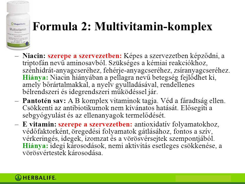 Formula 2: Multivitamin-komplex –Niacin: szerepe a szervezetben: Képes a szervezetben képződni, a triptofán nevű aminosavból. Szükséges a kémiai reakc