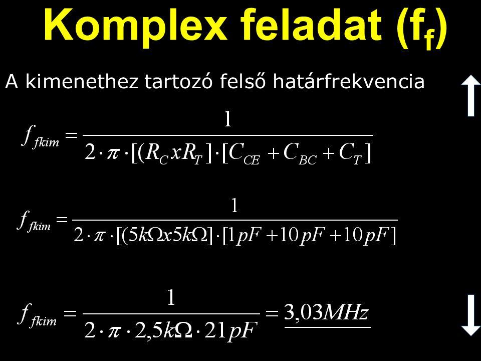 A kimenethez tartozó felső határfrekvencia Komplex feladat (f f )