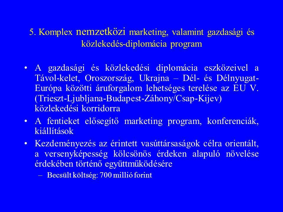 5. Komplex nemzetközi marketing, valamint gazdasági és közlekedés-diplomácia program •A gazdasági és közlekedési diplomácia eszközeivel a Távol-kelet,