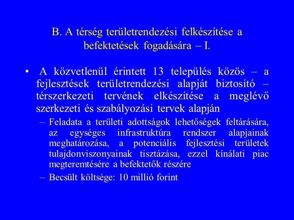 B.A térség területrendezési felkészítése a befektetések fogadására – II.
