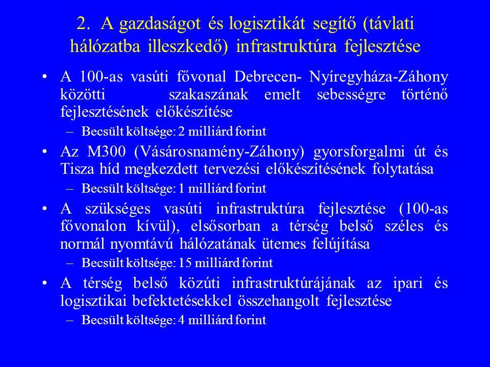 2. A gazdaságot és logisztikát segítő (távlati hálózatba illeszkedő) infrastruktúra fejlesztése •A 100-as vasúti fővonal Debrecen- Nyíregyháza-Záhony