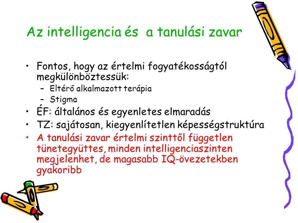 Az intelligencia és a tanulási zavar •Fontos, hogy az értelmi fogyatékosságtól megkülönböztessük: –Eltérő alkalmazott terápia –Stigma •ÉF: általános é