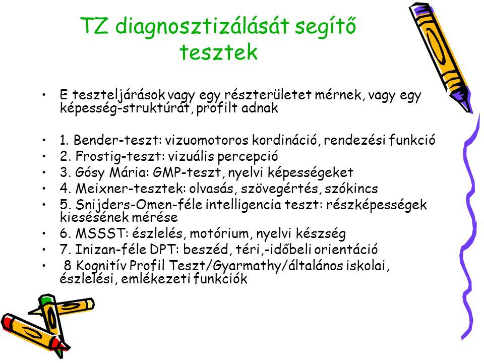 TZ diagnosztizálását segítő tesztek •E teszteljárások vagy egy részterületet mérnek, vagy egy képesség-struktúrát, profilt adnak •1. Bender-teszt: viz
