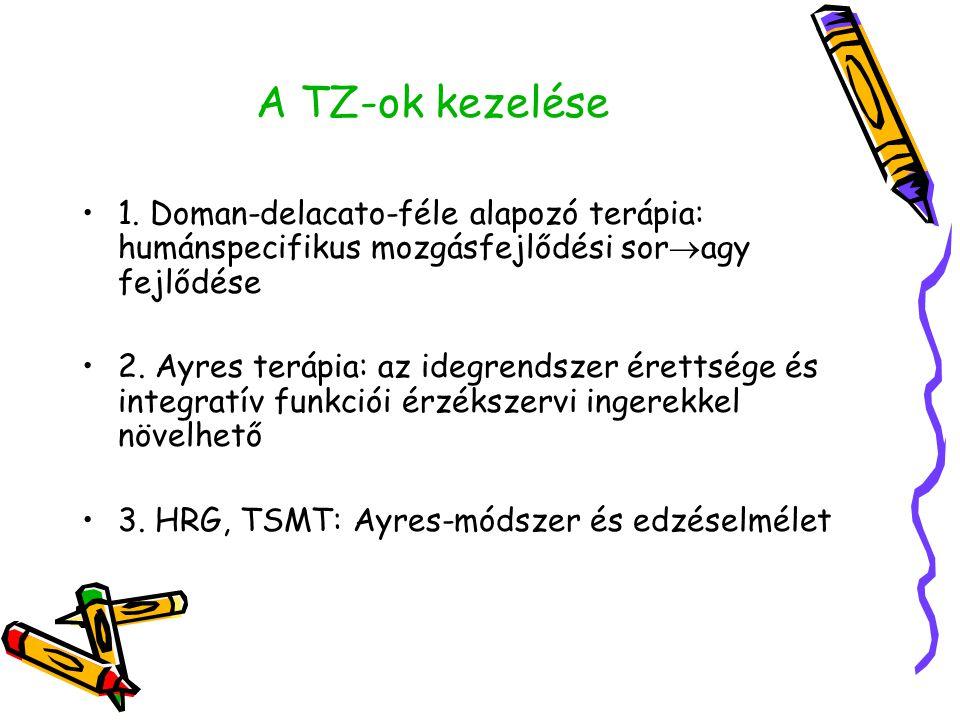 A TZ-ok kezelése •1. Doman-delacato-féle alapozó terápia: humánspecifikus mozgásfejlődési sor  agy fejlődése •2. Ayres terápia: az idegrendszer érett