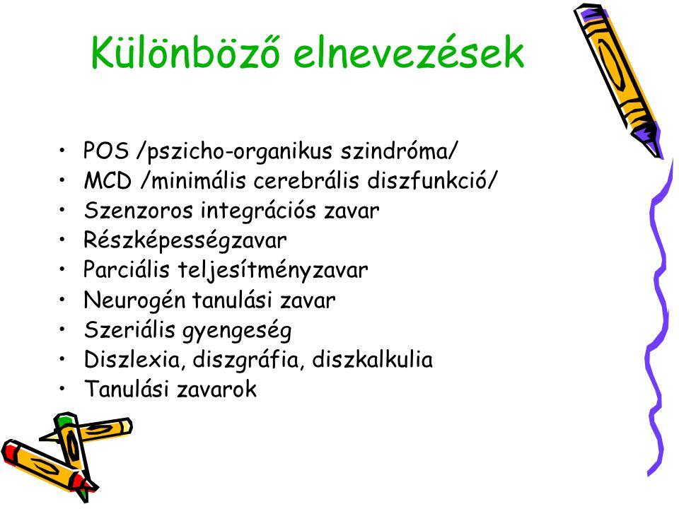 Különböző elnevezések •POS /pszicho-organikus szindróma/ •MCD /minimális cerebrális diszfunkció/ •Szenzoros integrációs zavar •Részképességzavar •Parc