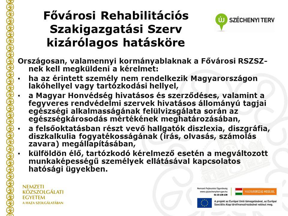 Fővárosi Rehabilitációs Szakigazgatási Szerv kizárólagos hatásköre Országosan, valamennyi kormányablaknak a Fővárosi RSZSZ- nek kell megküldeni a kérelmet: • ha az érintett személy nem rendelkezik Magyarországon lakóhellyel vagy tartózkodási hellyel, • a Magyar Honvédség hivatásos és szerződéses, valamint a fegyveres rendvédelmi szervek hivatásos állományú tagjai egészségi alkalmasságának felülvizsgálata során az egészségkárosodás mértékének meghatározásában, • a felsőoktatásban részt vevő hallgatók diszlexia, diszgráfia, diszkalkulia fogyatékosságának (írás, olvasás, számolás zavara) megállapításában, • külföldön élő, tartózkodó kérelmező esetén a megváltozott munkaképességű személyek ellátásával kapcsolatos hatósági ügyekben.