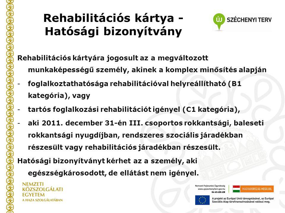 Rehabilitációs kártya - Hatósági bizonyítvány Rehabilitációs kártyára jogosult az a megváltozott munkaképességű személy, akinek a komplex minősítés alapján -foglalkoztathatósága rehabilitációval helyreállítható (B1 kategória), vagy -tartós foglalkozási rehabilitációt igényel (C1 kategória), -aki 2011.