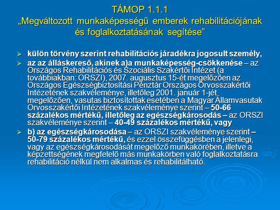 """TÁMOP 1.1.1 """"Megváltozott munkaképességű emberek rehabilitációjának és foglalkoztatásának segítése""""  külön törvény szerint rehabilitációs járadékra j"""