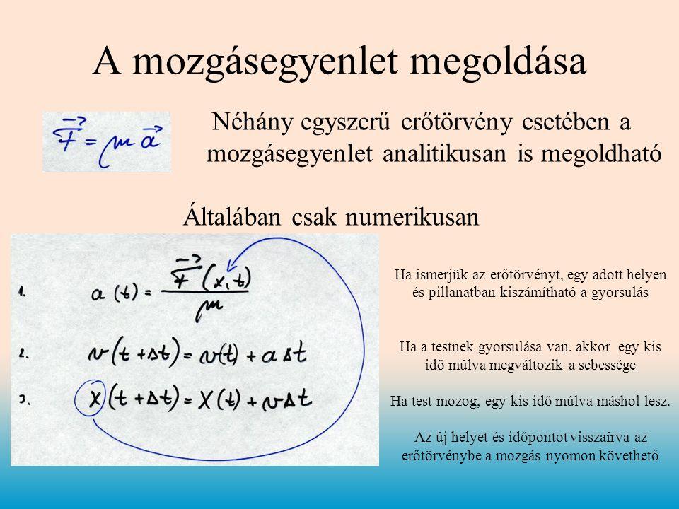 A mozgásegyenlet megoldása Néhány egyszerű erőtörvény esetében a mozgásegyenlet analitikusan is megoldható Általában csak numerikusan Ha ismerjük az erőtörvényt, egy adott helyen és pillanatban kiszámítható a gyorsulás Ha a testnek gyorsulása van, akkor egy kis idő múlva megváltozik a sebessége Ha test mozog, egy kis idő múlva máshol lesz.