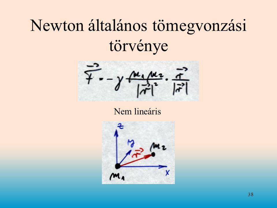 Newton általános tömegvonzási törvénye 38 Nem lineáris