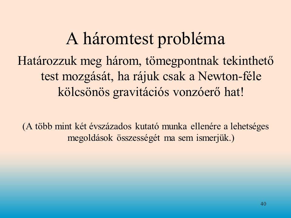 A háromtest probléma Határozzuk meg három, tömegpontnak tekinthető test mozgását, ha rájuk csak a Newton-féle kölcsönös gravitációs vonzóerő hat! (A t