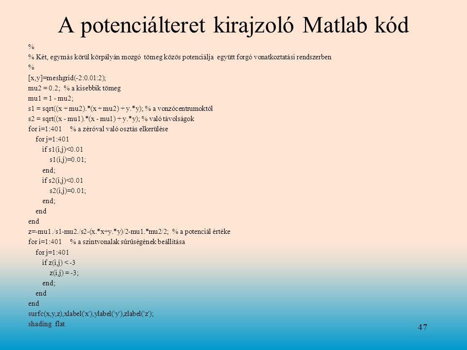 A potenciálteret kirajzoló Matlab kód % % Két, egymás körül körpályán mozgó tömeg közös potenciálja együtt forgó vonatkoztatási rendszerben % [x,y]=meshgrid(-2:0.01:2); mu2 = 0.2; % a kisebbik tömeg mu1 = 1 - mu2; s1 = sqrt((x + mu2).*(x + mu2) + y.*y); % a vonzócentrumoktól s2 = sqrt((x - mu1).*(x - mu1) + y.*y); % való távolságok for i=1:401 % a zéróval való osztás elkerülése for j=1:401 if s1(i,j)<0.01 s1(i,j)=0.01; end; if s2(i,j)<0.01 s2(i,j)=0.01; end; end z=-mu1./s1-mu2./s2-(x.*x+y.*y)/2-mu1.*mu2/2; % a potenciál értéke for i=1:401 % a szintvonalak sûrûségének beállítása for j=1:401 if z(i,j) < -3 z(i,j) = -3; end; end surfc(x,y,z),xlabel( x ),ylabel( y ),zlabel( z ); shading flat 47