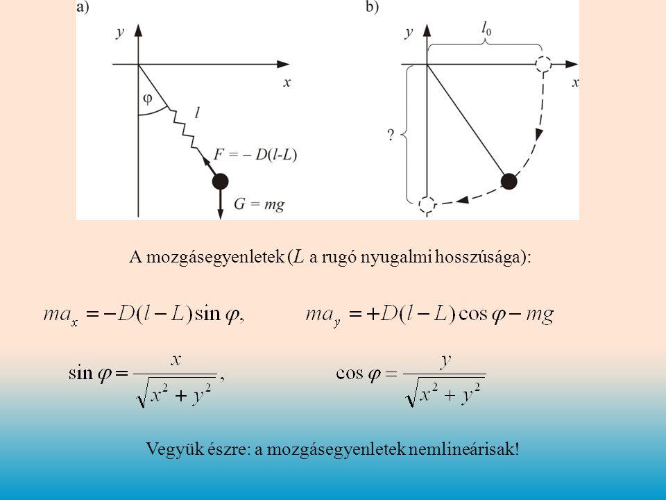 A mozgásegyenletek ( L a rugó nyugalmi hosszúsága): Vegyük észre: a mozgásegyenletek nemlineárisak!