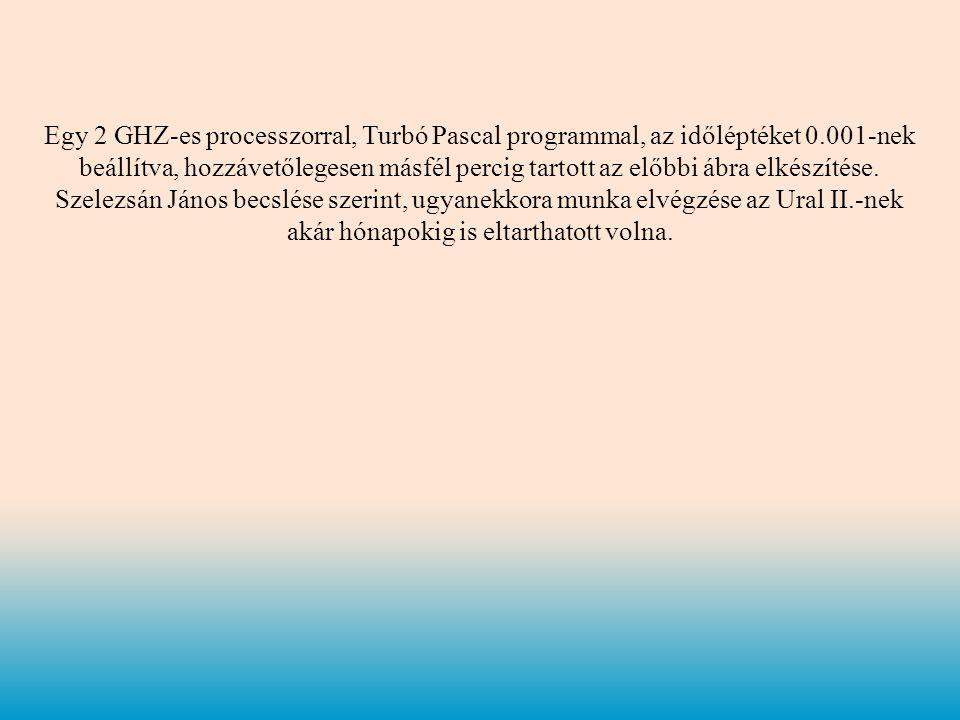 Egy 2 GHZ-es processzorral, Turbó Pascal programmal, az időléptéket 0.001-nek beállítva, hozzávetőlegesen másfél percig tartott az előbbi ábra elkészítése.