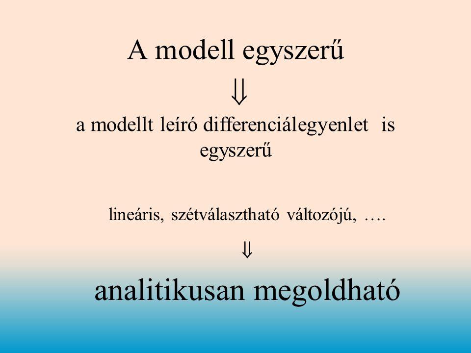 A modell egyszerű  a modellt leíró differenciálegyenlet is egyszerű lineáris, szétválasztható változójú, ….
