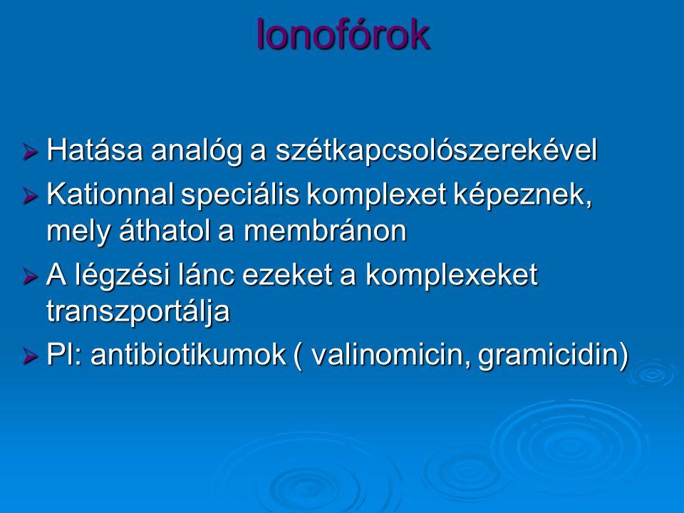 Ionofórok  Hatása analóg a szétkapcsolószerekével  Kationnal speciális komplexet képeznek, mely áthatol a membránon  A légzési lánc ezeket a komplexeket transzportálja  Pl: antibiotikumok ( valinomicin, gramicidin)