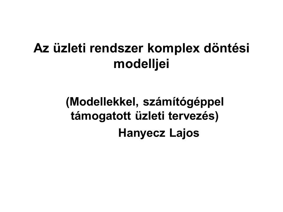 Az üzleti rendszer komplex döntési modelljei (Modellekkel, számítógéppel támogatott üzleti tervezés) Hanyecz Lajos