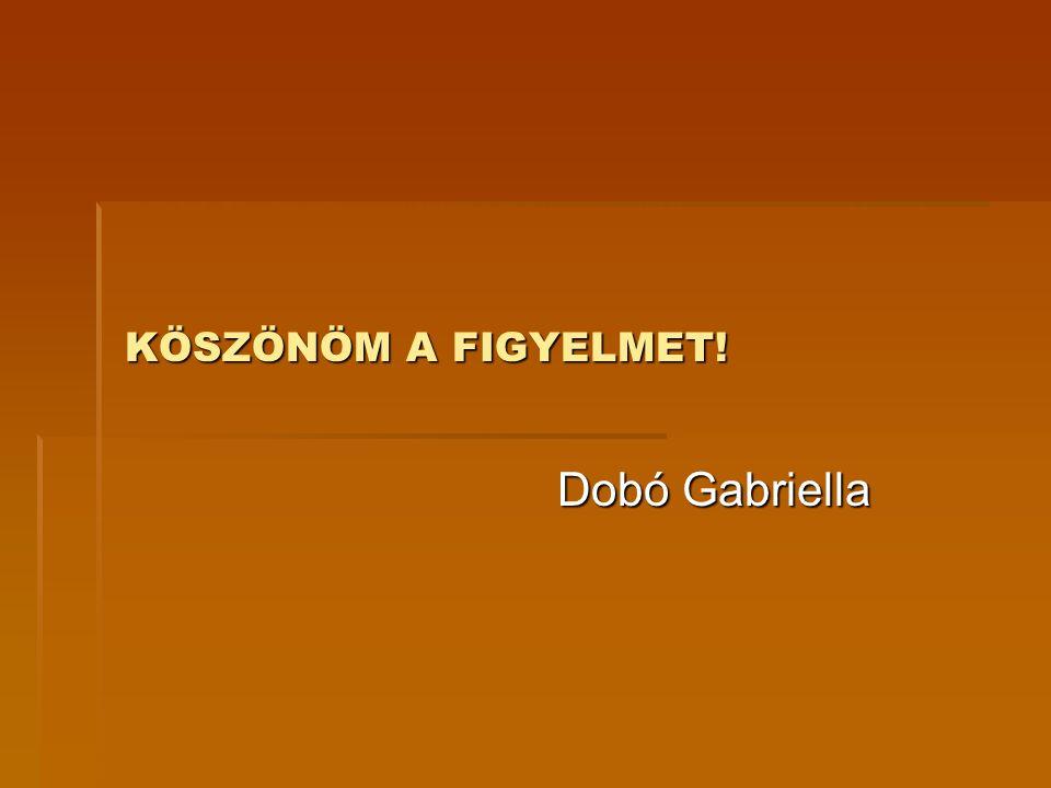KÖSZÖNÖM A FIGYELMET! Dobó Gabriella
