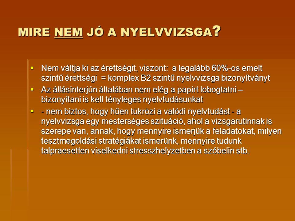 NYELVVIZSGA TÍPUSOK  ÁLTALÁNOS VAGY SZAKMAI.