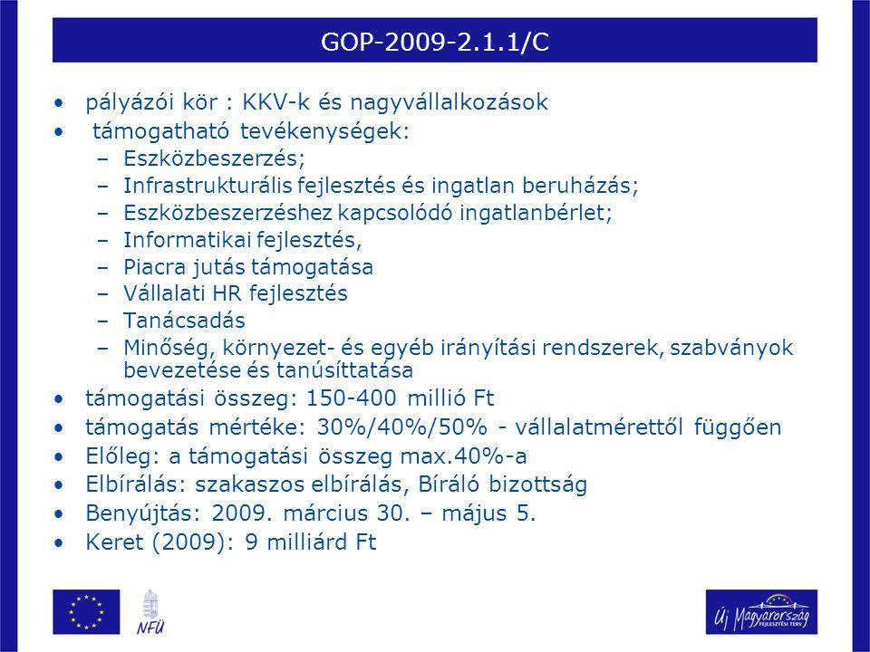 GOP-2009-2.1.2/B •pályázói kör : mikro-, kis- és középvállalkozások •Dedikált konstrukció a 33 komplex programmal segítendő leghátrányosabb helyzetű kistérségekben megvalósuló fejlesztésekhez •támogatható tevékenységek: –Eszközbeszerzés; –Infrastrukturális fejlesztés és ingatlan beruházás; –Eszközbeszerzéshez kapcsolódó ingatlanbérlet; –Informatikai fejlesztés, –Piacra jutás támogatása –Vállalati HR fejlesztés –Tanácsadás –Minőség, környezet- és egyéb irányítási rendszerek, szabványok bevezetése és tanúsíttatása •támogatási összeg: 20-150 millió Ft •támogatás mértéke: 50% •Előleg: a támogatási összeg max.40%-a •Elbírálás: szakaszos elbírálás, Bíráló bizottság •Benyújtás: 2009.
