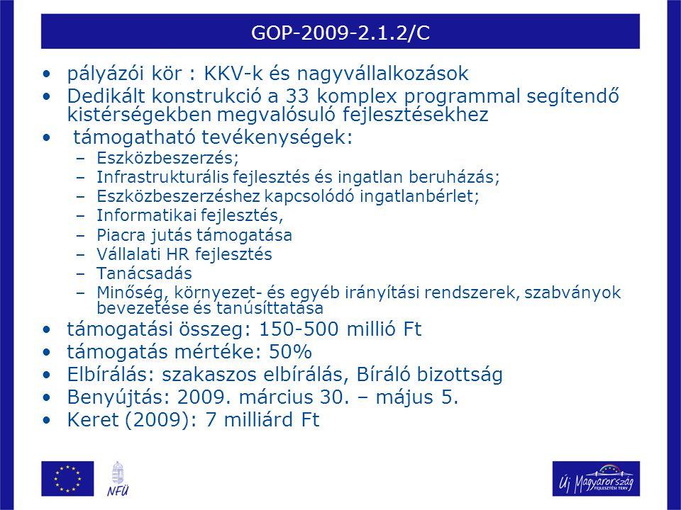 GOP-2009-2.1.3 •pályázói kör : kettős könyvvitelt vezető vállalkozások (induló vállalkozás is) •támogatható tevékenységek: –A létrehozott új munkahelyre felvett munkavállalók foglalkoztatása (alapbér+járulék) –Eszközbeszerzés; –Infrastrukturális fejlesztés és ingatlan beruházás; –Eszközbeszerzéshez kapcsolódó ingatlanbérlet; –Informatikai fejlesztés, –Piacra jutás támogatása –Tanácsadás –Minőség, környezet- és egyéb irányítási rendszerek, szabványok bevezetése és tanúsíttatása •A projekt összes elszámolható költségének meg kell haladnia az 1,5 milliárd Ft-ot •Minimum 25 új munkahelyet kell teremteni •támogatási összeg: 200-1500 millió Ft •támogatás mértéke: 5-35% az értékelésen elért pontszámtól függően (értékelési függvény: négy változó (beruházás mérete, teremtett munkahelyek száma, területi dimenzió, húzóágazathoz tartozás) alapján határozza meg a beruházáshoz megajánlott támogatási arányt) •Elbírálás: Bíráló bizottság •Benyújtás: 2009.