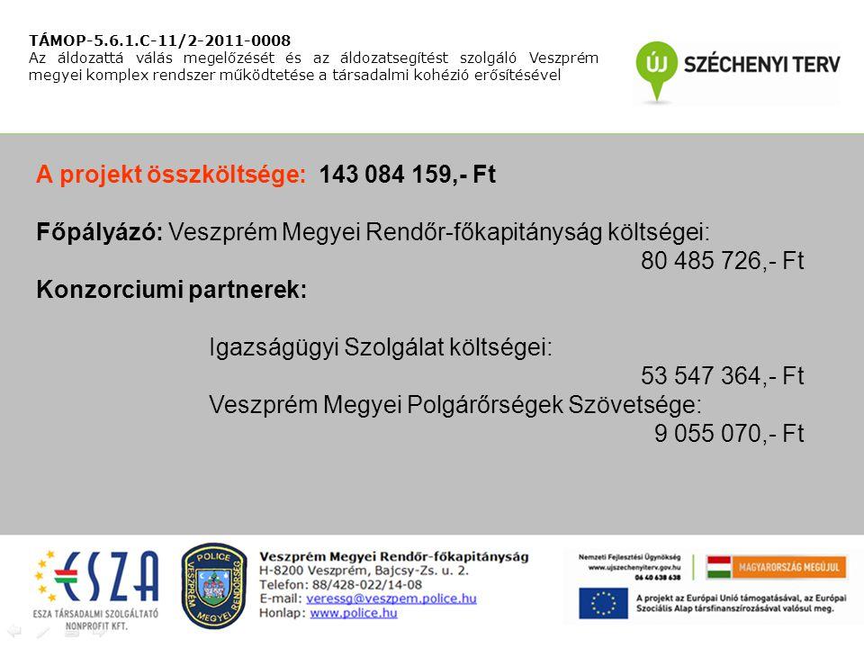 A projekt összköltsége: 143 084 159,- Ft Főpályázó: Veszprém Megyei Rendőr-főkapitányság költségei: 80 485 726,- Ft Konzorciumi partnerek: Igazságügyi Szolgálat költségei: 53 547 364,- Ft Veszprém Megyei Polgárőrségek Szövetsége: 9 055 070,- Ft TÁMOP-5.6.1.C-11/2-2011-0008 Az áldozattá válás megelőzését és az áldozatsegítést szolgáló Veszprém megyei komplex rendszer működtetése a társadalmi kohézió erősítésével