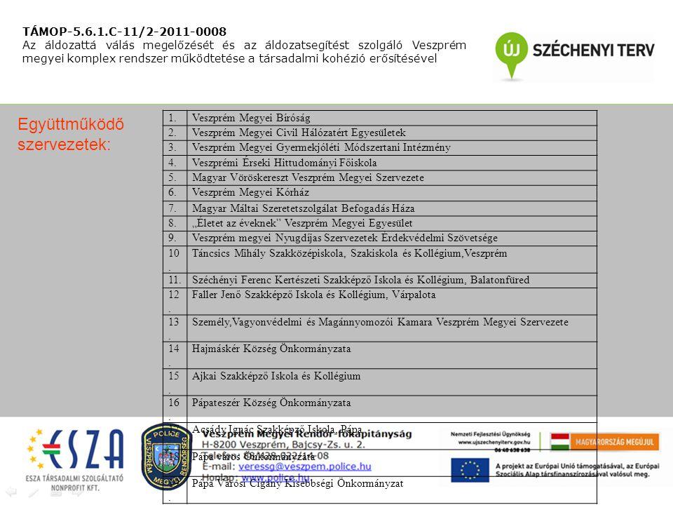 """TÁMOP-5.6.1.C-11/2-2011-0008 Az áldozattá válás megelőzését és az áldozatsegítést szolgáló Veszprém megyei komplex rendszer működtetése a társadalmi kohézió erősítésével 1.Veszprém Megyei Bíróság 2.Veszprém Megyei Civil Hálózatért Egyesületek 3.Veszprém Megyei Gyermekjóléti Módszertani Intézmény 4.Veszprémi Érseki Hittudományi Főiskola 5.Magyar Vöröskereszt Veszprém Megyei Szervezete 6.Veszprém Megyei Kórház 7.Magyar Máltai Szeretetszolgálat Befogadás Háza 8.""""Életet az éveknek Veszprém Megyei Egyesület 9.Veszprém megyei Nyugdíjas Szervezetek Érdekvédelmi Szövetsége 10."""
