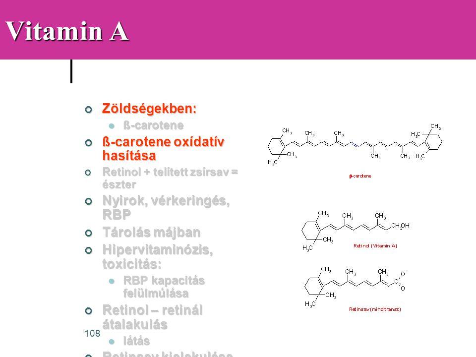 108 Vitamin A Zöldségekben:  ß-carotene ß-carotene oxídatív hasítása Retinol + telített zsírsav = észter Nyirok, vérkeringés, RBP Tárolás májban Hipe