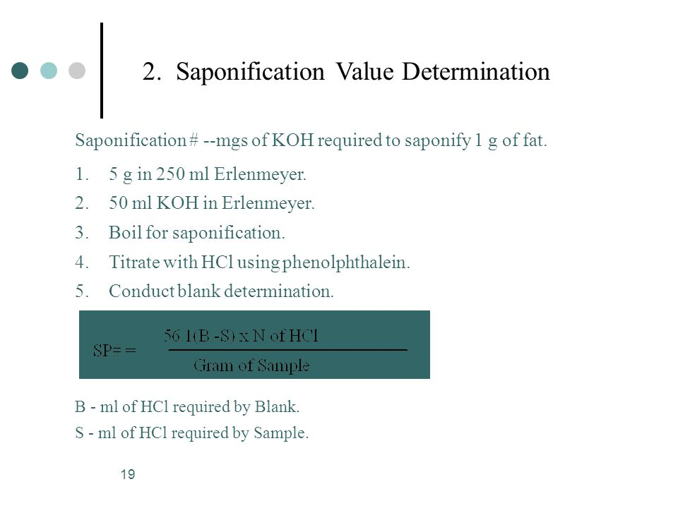 19 Saponification # --mgs of KOH required to saponify 1 g of fat.