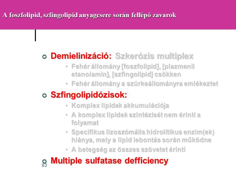 63 A foszfolipid, szfingolipid anyagcsere során fellépő zavarok Demielinizáció: Szkerózis multiplex •Fehér állomány [foszfolipid], [plazmenil etanolam