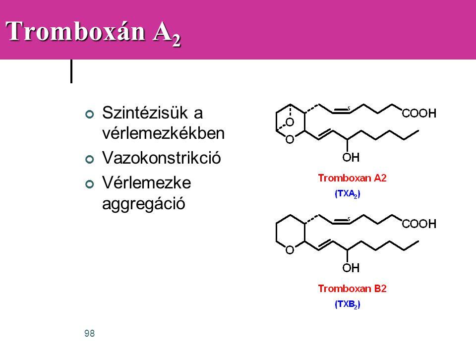 98 Tromboxán A 2 Szintézisük a vérlemezkékben Vazokonstrikció Vérlemezke aggregáció